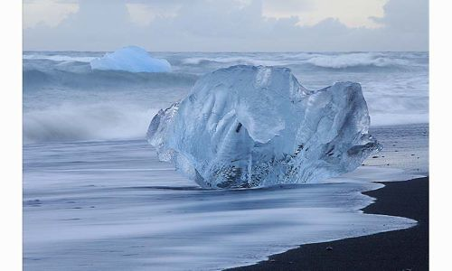 "winning print by Keith Snell of Keswick PS with ""Beached Iceberg"""
