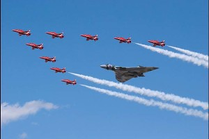 """Red Arrows and Vulcan"" by Michael Clark"