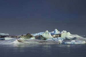 """Jokulsarlon at Night by Keith Snell"